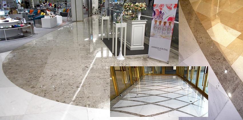 Centro commerciale a Seoul (Korea) - Pavimentazione in marmo AURISINA FIORITA abbinato a marmo bianco