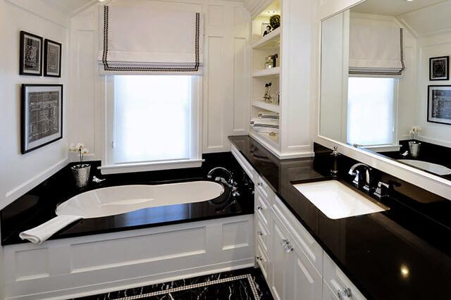 Pietra artificiale in quarzite nera rivestimento bagno