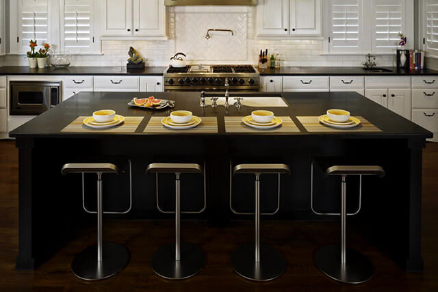 Top kitchen black artificial stone