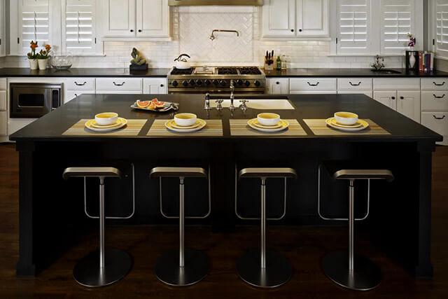 Top-Küche schwarzer künstlicher Stein