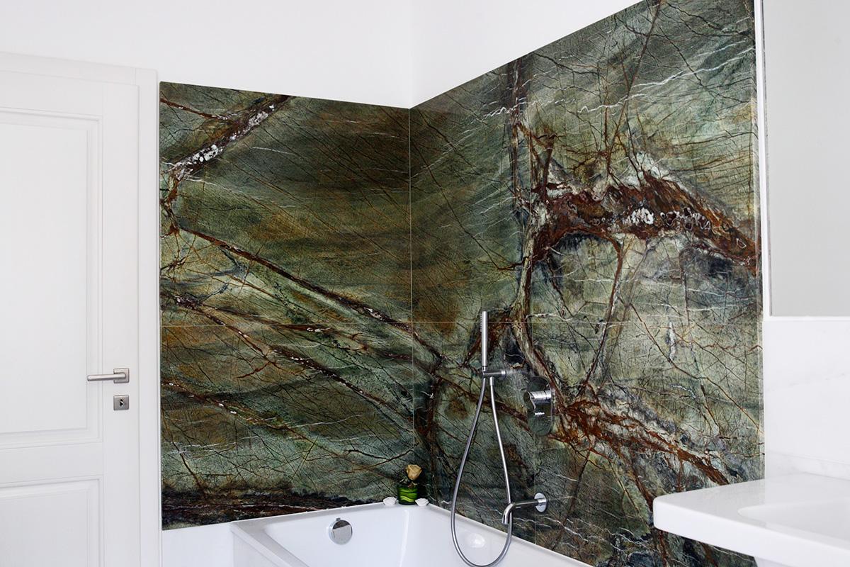 Lastra unica marmo rivestimento bagno